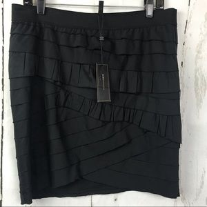 BCBGMaxazria Black Ruffled Tiered Skirt NWT